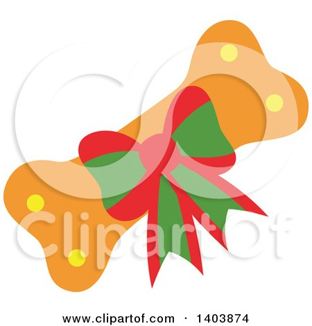 Clipart of a Christmas Gift Dog Bone - Royalty Free Vector Illustration by Cherie Reve