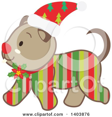 Clipart of a Happy Striped Christmas Dog Walking - Royalty Free Vector Illustration by Cherie Reve