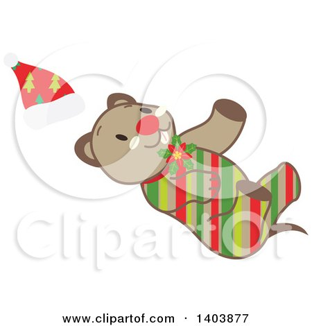 Clipart of a Happy Striped Christmas Dog - Royalty Free Vector Illustration by Cherie Reve