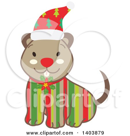 Clipart of a Happy Striped Christmas Dog Sitting - Royalty Free Vector Illustration by Cherie Reve