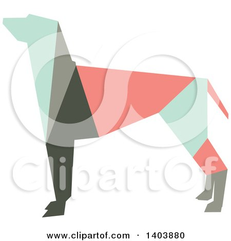 Clipart of a Retro Geometric Colorful Profiled Hound Dog - Royalty Free Vector Illustration by Cherie Reve