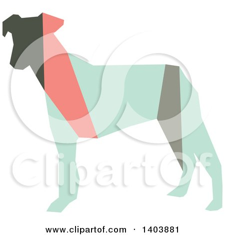 Clipart of a Retro Geometric Colorful Profiled Terrier Dog - Royalty Free Vector Illustration by Cherie Reve