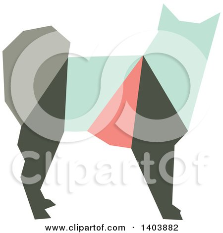 Clipart of a Retro Geometric Colorful Profiled Dog - Royalty Free Vector Illustration by Cherie Reve