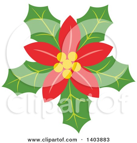 Clipart of a Christmas Poinsettia - Royalty Free Vector Illustration by Cherie Reve