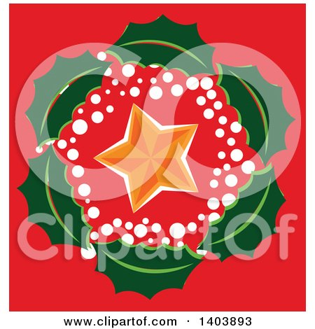 Clipart of a Christmas Holly Wreath Around a Star on Red - Royalty Free Vector Illustration by Cherie Reve