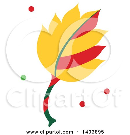 Clipart of a Christmas Leaf with Green and Red Snow - Royalty Free Vector Illustration by Cherie Reve