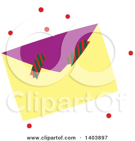Clipart of a Christmas Envelope and Crackers with Red Snow - Royalty Free Vector Illustration by Cherie Reve
