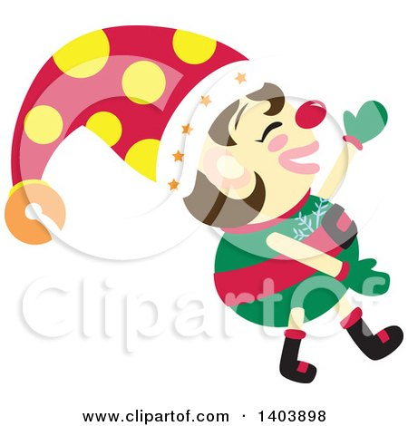 Clipart of a Happy Christmas Elf Walking - Royalty Free Vector Illustration by Cherie Reve