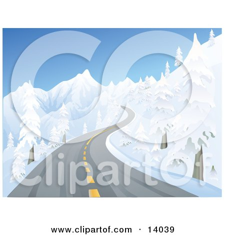 Icy Two Laned Road With Black Ice Winding Up A Mountain Between Snow Flocked Trees Posters, Art Prints