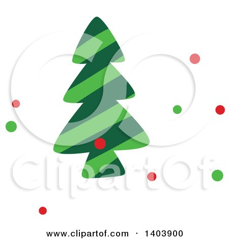 Clipart of a Christmas Tree and Colorful Snow - Royalty Free Vector Illustration by Cherie Reve