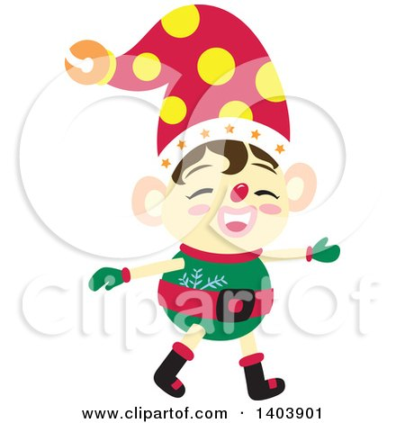 Clipart of a Happy Christmas Elf - Royalty Free Vector Illustration by Cherie Reve