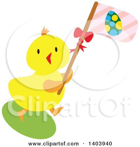 Clipart of a Yellow Easter Chick Carrying a Pink Flag - Royalty Free Vector Illustration by Cherie Reve