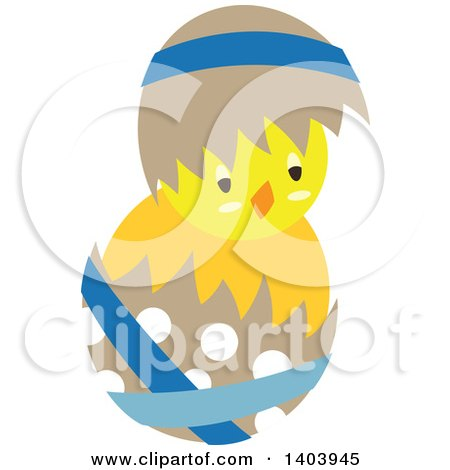 Clipart of a Yellow Easter Chick Hatching from a Polka Dot Egg - Royalty Free Vector Illustration by Cherie Reve