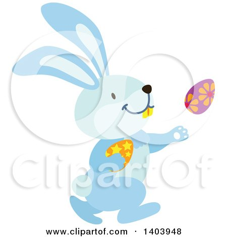 Clipart of a Blue Bunny Rabbit Running with Easter Eggs - Royalty Free Vector Illustration by Cherie Reve