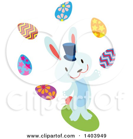Clipart of a Blue Bunny Rabbit Juggling Easter Eggs - Royalty Free Vector Illustration by Cherie Reve