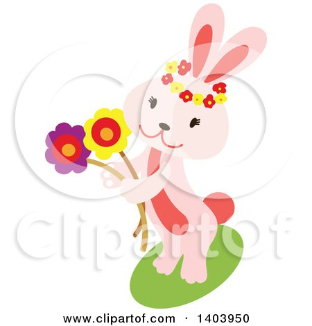 Clipart of a Pink Easter Bunny Rabbit Holding Flowers - Royalty Free Vector Illustration by Cherie Reve