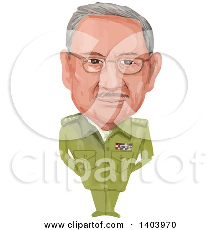 Clipart of a Watercolor Caricature of the President of Cuba, Raul Modesto Castro Ruz - Royalty Free Vector Illustration by patrimonio