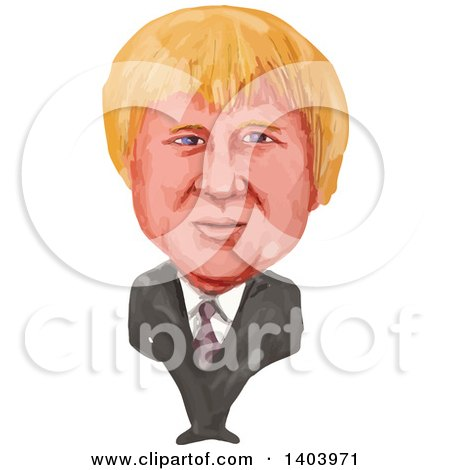 Clipart of a Watercolor Caricature of Boris Johnson - Royalty Free Vector Illustration by patrimonio