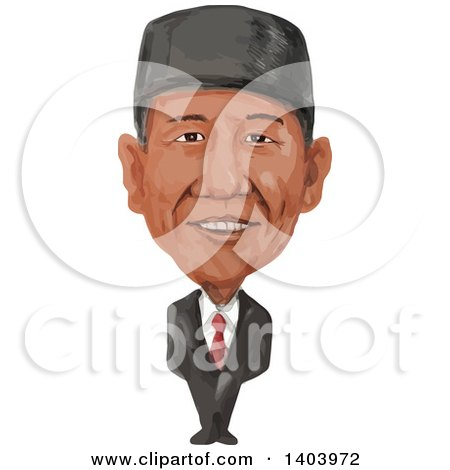 Clipart of a Watercolor Caricature of the Prime Minister of Indonesia, Joko Widodo, Jokowi - Royalty Free Vector Illustration by patrimonio