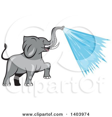 Clipart Of A Cartoon Elephant Spraying Water From His