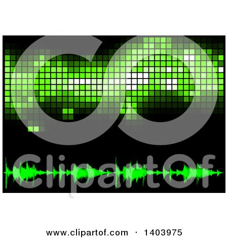 Clipart of a Background of Green Equalizer Sound Waves and Pixels on Black - Royalty Free Vector Illustration by dero