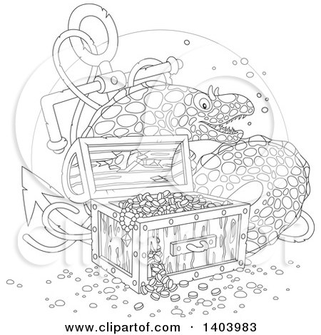 Clipart of a Black and White Lineart Moray Eel with a Sunken Anchor and Treasure - Royalty Free Vector Illustration by Alex Bannykh