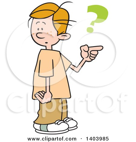 Clipart of a Cartoon Caucasian Boy Pointing and Asking Which Way to Go - Royalty Free Vector Illustration by Johnny Sajem