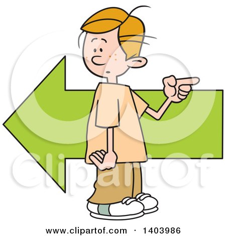 Clipart of a Cartoon Caucasian Boy Pointing in the Opposite Direction As an Arrow - Royalty Free Vector Illustration by Johnny Sajem