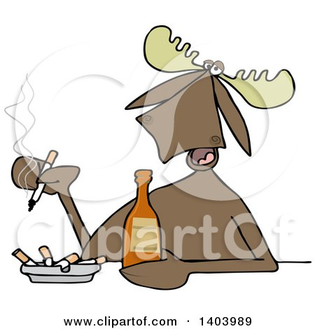 Clipart of a Cartoon Moose Smoking and Drinking a Beer - Royalty Free Vector Illustration by djart
