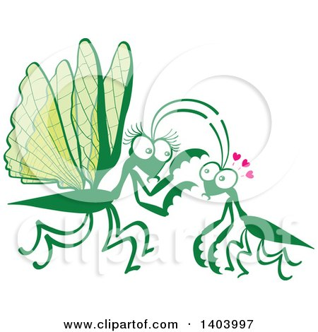 Clipart of a Praying Mantis Couple in Love - Royalty Free Vector Illustration by Zooco