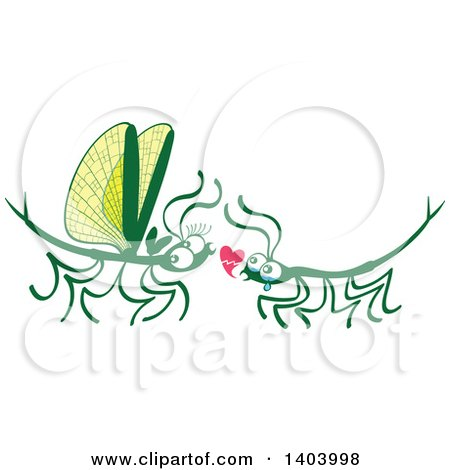 Clipart of a Stick Insect Couple in Love - Royalty Free Vector Illustration by Zooco
