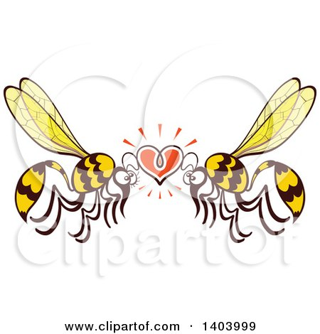 Clipart of a Wasp Couple in Love - Royalty Free Vector Illustration by Zooco