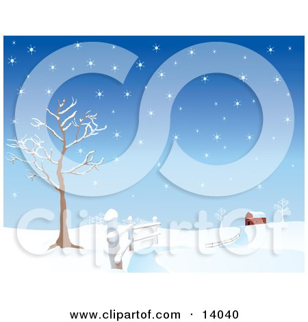 Snow Covered Road Winding Along a Fence by a Bare Tree, Leading to a Red Barn in the Distance Clipart Illustration by Rasmussen Images