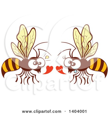 Clipart of a Bee Couple in Love - Royalty Free Vector Illustration by Zooco