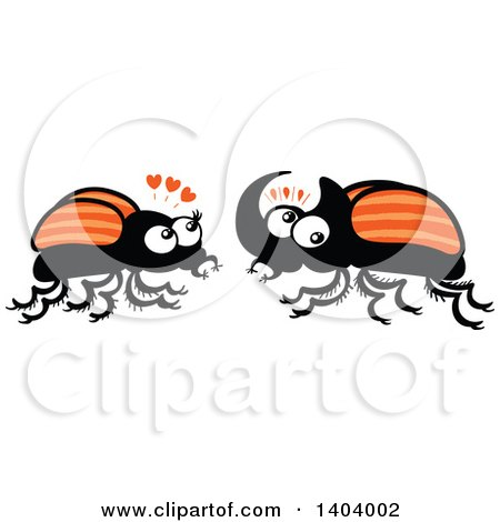 Clipart of a Beetle Couple in Love - Royalty Free Vector Illustration by Zooco