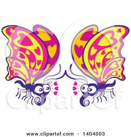 Clipart of a Butterfly Couple in Love - Royalty Free Vector Illustration by Zooco