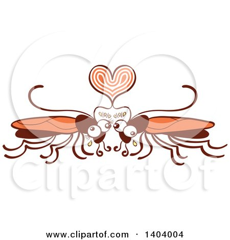 Clipart of a Cockroach Couple in Love - Royalty Free Vector Illustration by Zooco