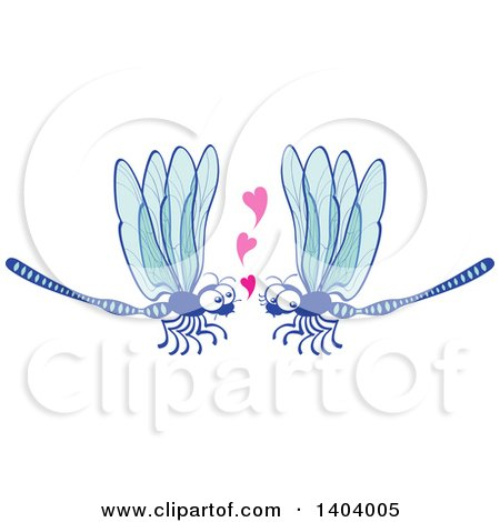 Clipart of a Dragonfly Couple in Love - Royalty Free Vector Illustration by Zooco