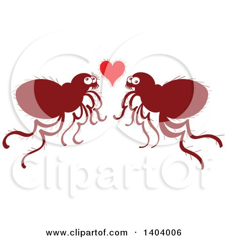 Clipart of a Flea Couple in Love - Royalty Free Vector Illustration by Zooco