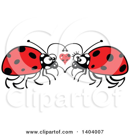 Clipart of a Ladybug Couple in Love - Royalty Free Vector Illustration by Zooco