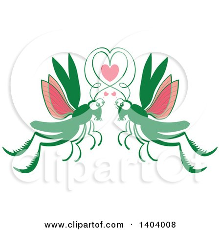 Clipart of a Grasshopper Couple in Love - Royalty Free Vector Illustration by Zooco