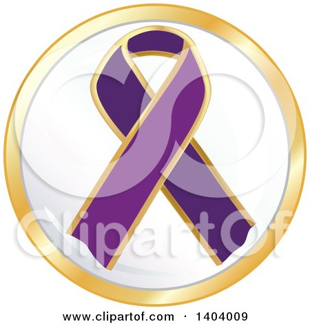 Clipart of a Purple Awareness Ribbon Icon - Royalty Free Vector Illustration by inkgraphics