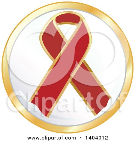 Clipart of a Red Awareness Ribbon Icon - Royalty Free Vector Illustration by inkgraphics