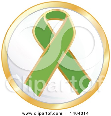 Clipart of a Green Awareness Ribbon Icon - Royalty Free Vector Illustration by inkgraphics