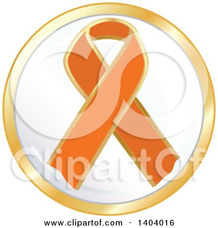 Clipart of an Orange Awareness Ribbon Icon - Royalty Free Vector Illustration by inkgraphics