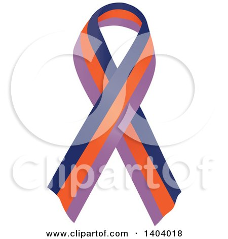 Clipart of a Dark Blue and Orange Orchid Psoriatic Arthritis Awareness Ribbon - Royalty Free Vector Illustration by inkgraphics