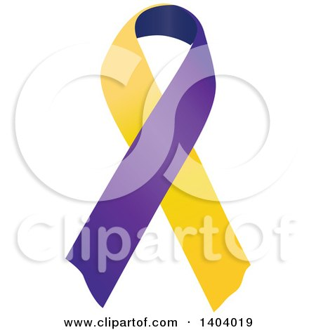 Clipart of a Purple Blue and Maricold Bladder Cancer Awareness Ribbon - Royalty Free Vector Illustration by inkgraphics
