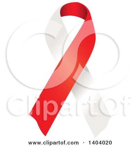Clipart of a Red and White Awareness Ribbon - Royalty Free Vector Illustration by inkgraphics