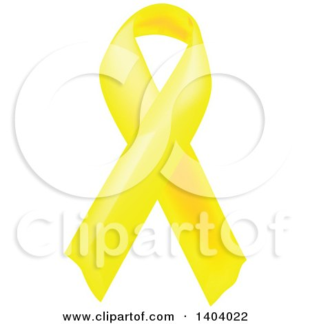 Clipart of a Yellow Awareness Ribbon - Royalty Free Vector Illustration by inkgraphics