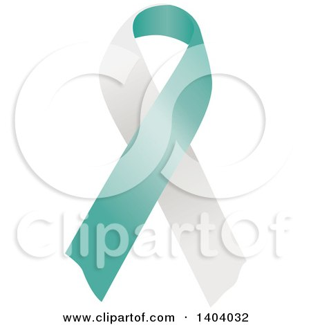 Clipart of a Teal and White Cervical Cancer Awareness Ribbon - Royalty Free Vector Illustration by inkgraphics
